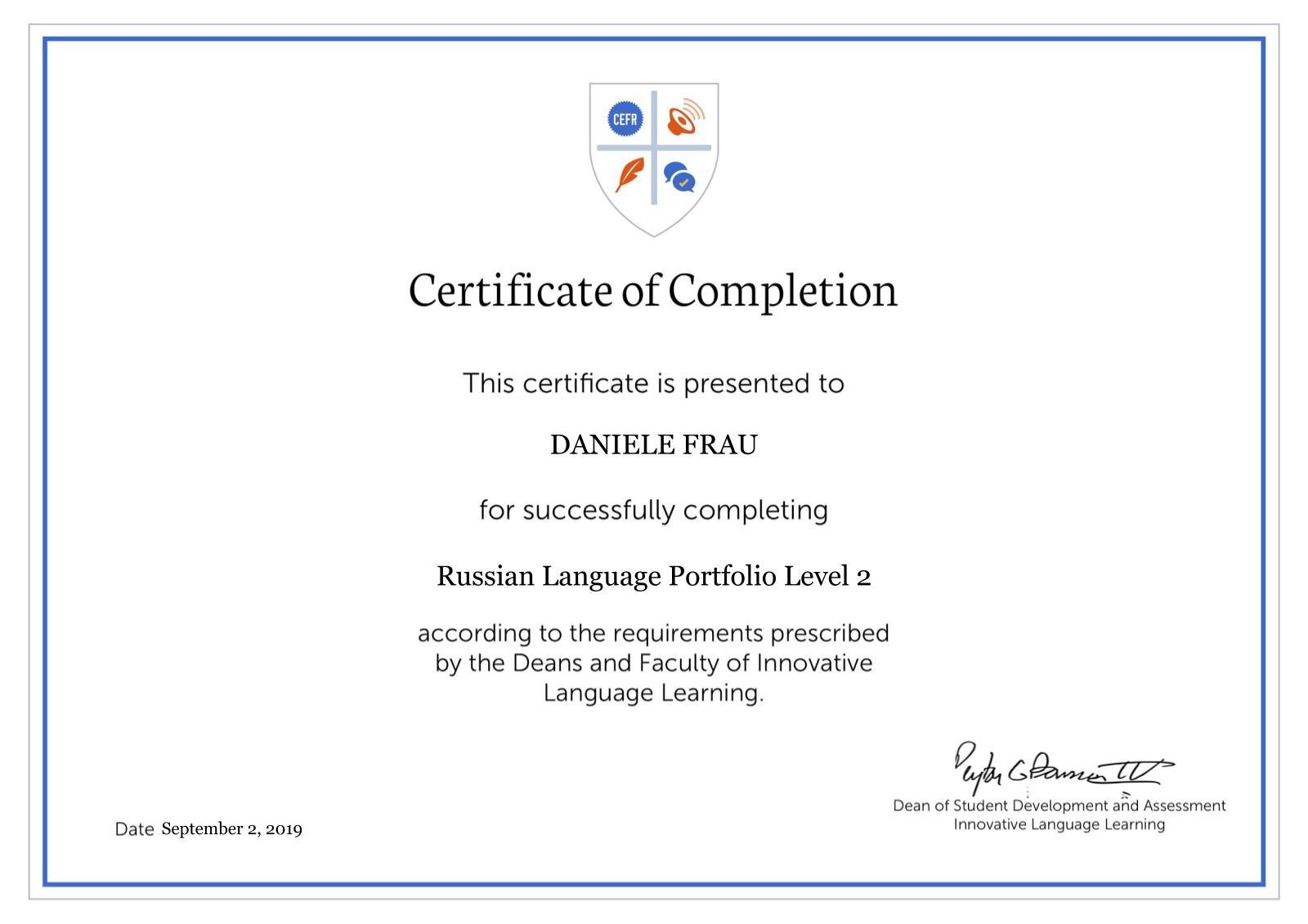 Daniele Frau Russian Certificate